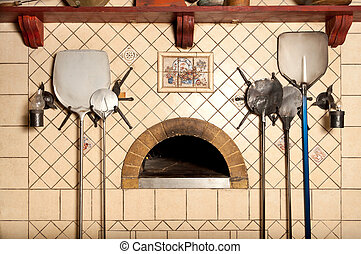 A wood-fired pizza oven in the classic Italian style