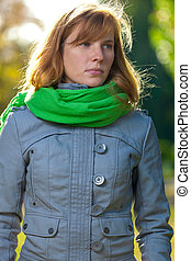This is portrait of beautiful young woman - outdoors