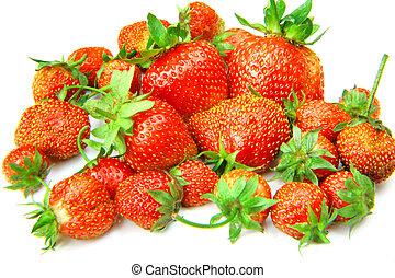Garden strawberries on white background