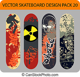 Skateboard design pack 20 - Grunge vector pack of 4...