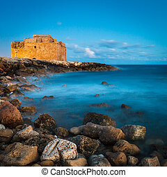 Night view of the Paphos Castle Paphos, Cyprus