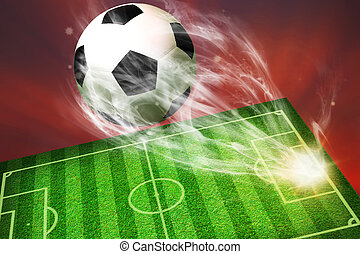 soccer ball flying from football field