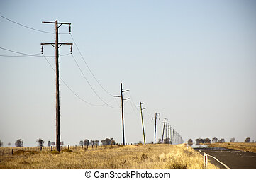 Powerlines Heat Haze - Heat haze rises as powerlines blur...