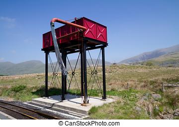 agua, tanque, torre, rellenar, vapor, trenes