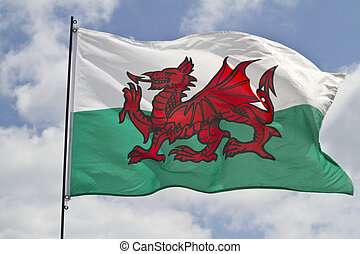 Welsh Flag - The flag of Wales flying in sunshine