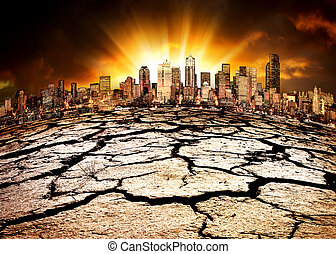 Environmental Disaster - A city showing the effect of...