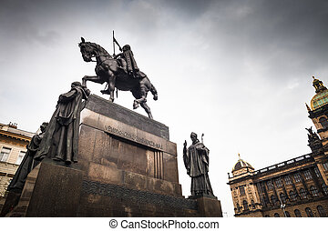 Prague, Wenceslas Square: view of the statue of St....