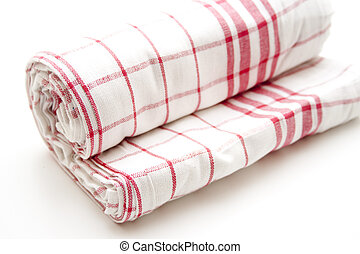 Dish towel from linen on white background