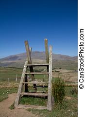 cerca, escalera, Snowdonia, nacional, parque, gales, Reino...