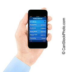 Mobile banking application - Hand holding mobile smart phone...
