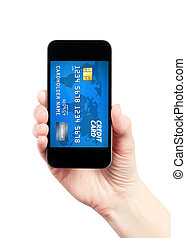 Mobile payment concept - Hand holding mobile smart phone...
