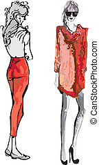 Fashion Model - Hand-drawn fashion model. Vector...