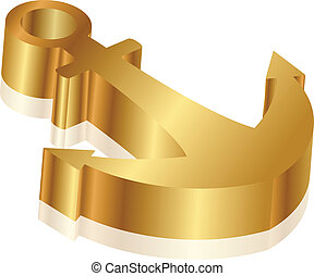Vector 3d illustration of golden anchor