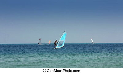 windsurfing - man learns to ride on windsurfer