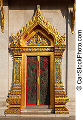 Thai style buddhism temple window of Wat Benchamabophit is a...