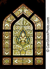 Thai style buddhism temple window