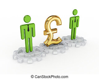 3d small people on a gears and pound sterling sign - 3d...