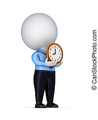 3d small person with a colorful clock in a handsIsolated on...