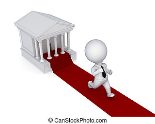 3d small person running from a courthouseIsolated on white...
