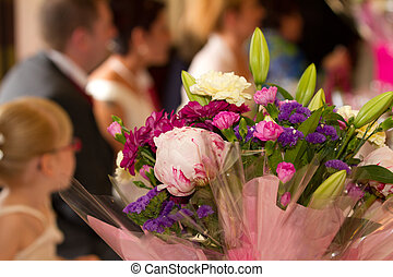 Flowers - focus on a wedding bouquet at a reception