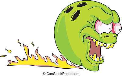 Green bowling ball with flame. Color vector illustration.