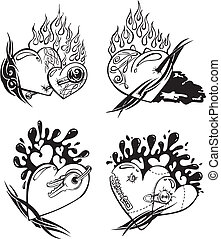 Stylized Tattoos with Hearts