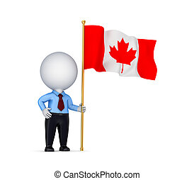 3d small person with canadian flag.Isolated on white...