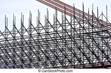 Scaffolding on a site