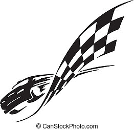 Checkered flag - symbol racing - Racing emblem - black and...