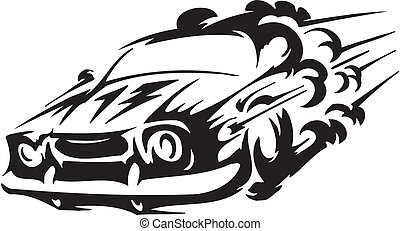 Race car - vector illustration - Racing emblem - black and...