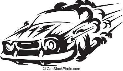 car, vetorial,  -, Ilustração, raça