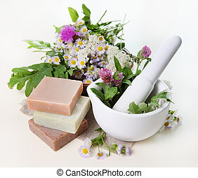 Herbs in Mortar with Soap - Rural Flowers and Herbs in...