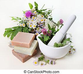 hierbas, mortero, jabón