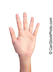 Image of Counting womans left hands finger number 5 or10 -...