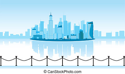 vector illustration of a city with reflection