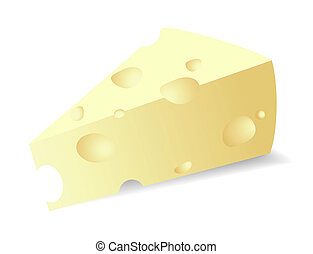 Vector cheese titbit - Vector illustration of a piece of...