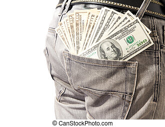 Dollar in his back pocket blue jeans - Young man extracting...