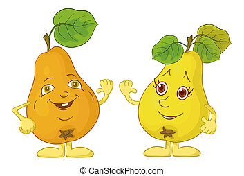 Character pears - Cartoon, fruits, two character pears with...