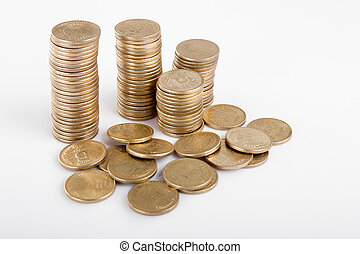 Indian coin collection - Pile of money indian coin isolated...
