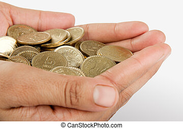 Indian coin collection in hand - Pile of money (indian coin...