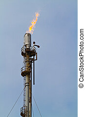 Gas flare at a Welsh oil refinery