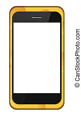 Vector smartphone in a cheese cover isolated on white. Eps 10