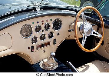 coche, clásico, tablero de instrumentos, deportes
