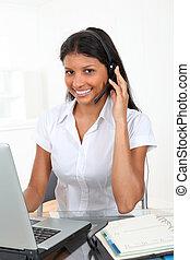 client, opérateur, Sourire,  service,  portrait