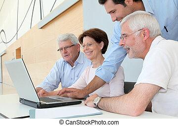 busca, Grupo, pessoas, assistindo, trabalho, Sênior, reunião...