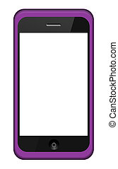 Vector smartphone in a pink  cover isolated on white. Eps 10