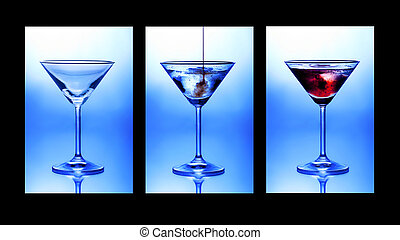 Cocktail triptych Three glasses showing stages of pouring a...