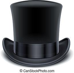 negro, cima, sombrero