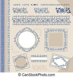 set floral vintage borders and fram
