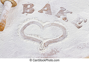 Bake - White flour with word bake and hand drawn heart.